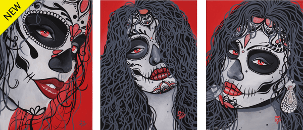 Three head portraits of Mexican catrinas with red, gray, black and white highlights on a red background by Laurencia Victoria.
