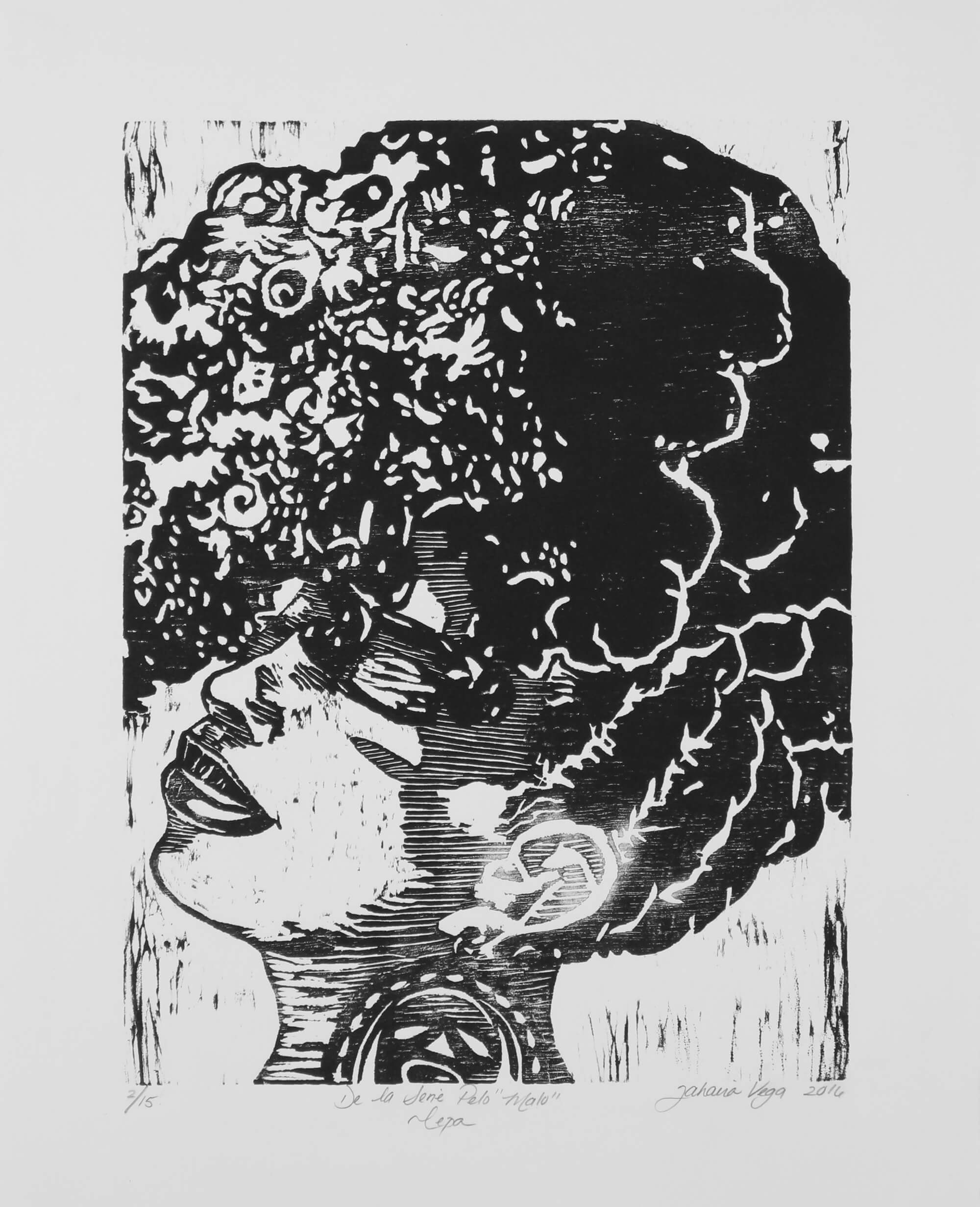 Wood cut print of side view portrait of black woman with abundant hair by Yarie Vega