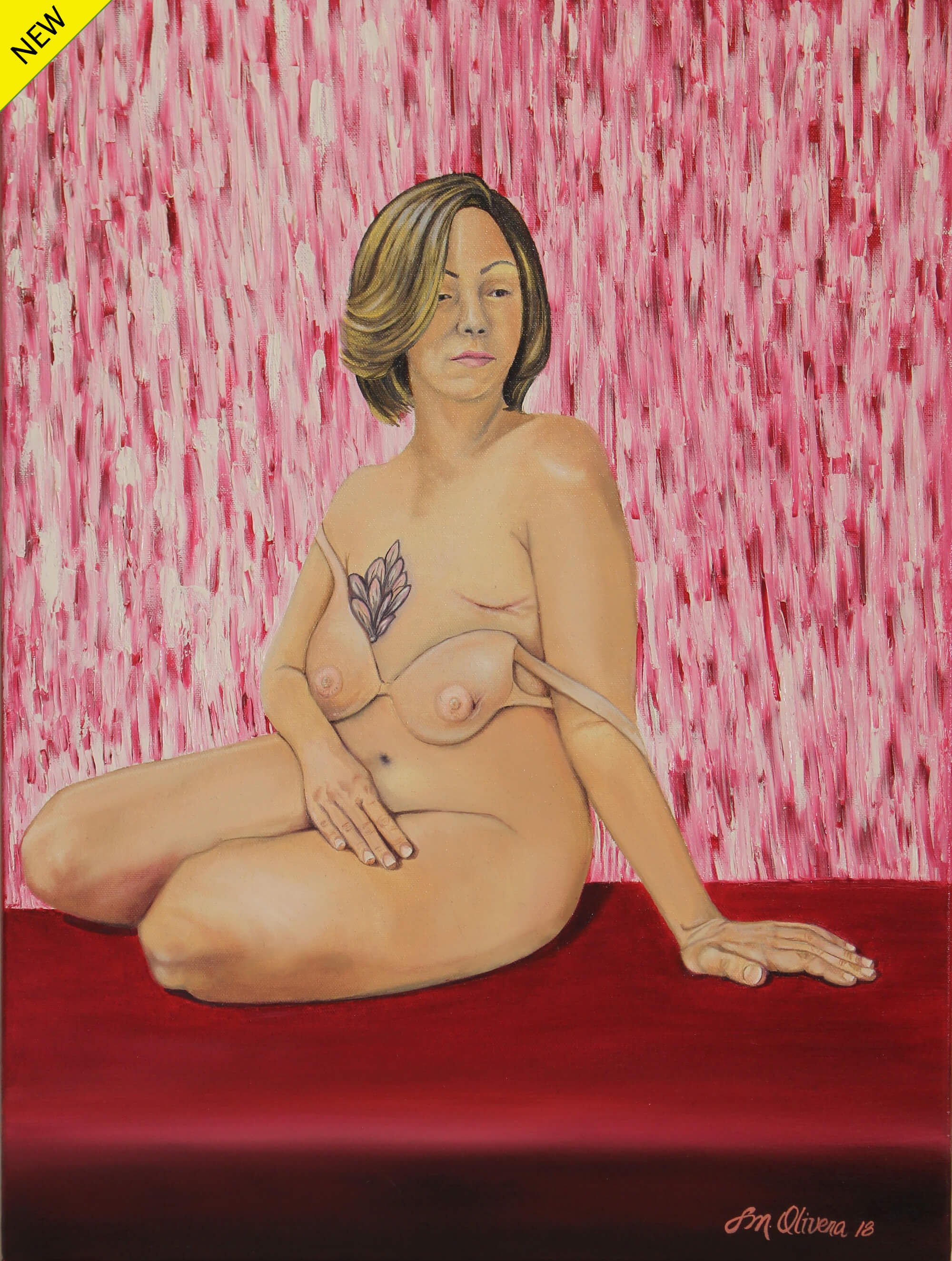 Oil painting of a nude female breast cancer survivor showing the scar of a breast removal operation and a loose breast-like brazier, sitting on a purple surface by Susan Olivera.