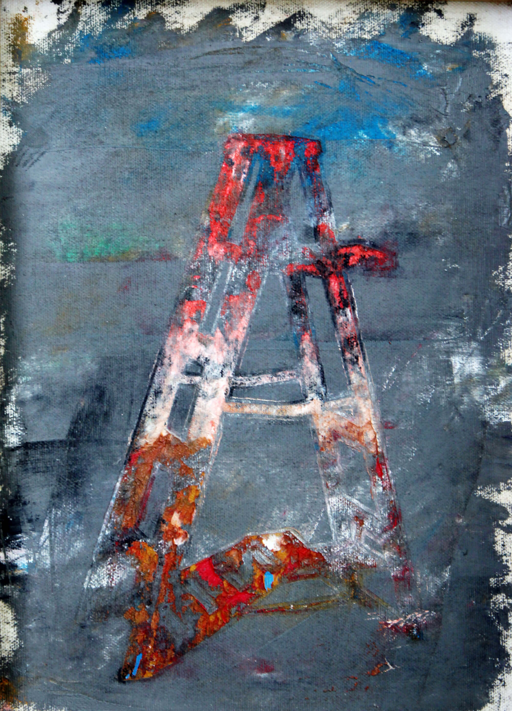 Acrylic painting of red and white stepladder with gray scale background as metaphor of ascending by Ludwig Medina