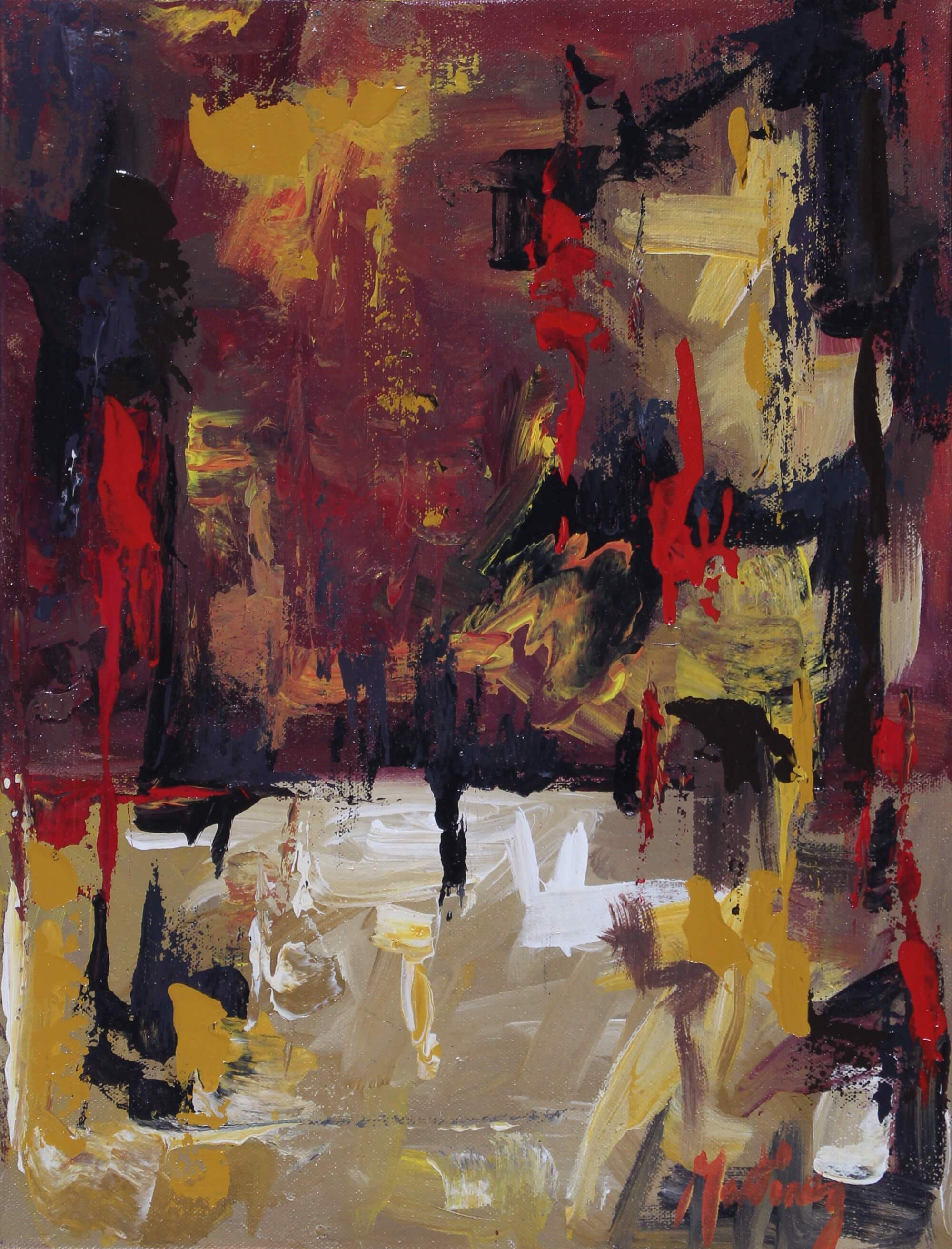 Abstract acrylic painting of brush strokes of red, black, white, and yellow representing an identity crisis by Joe Martínez.