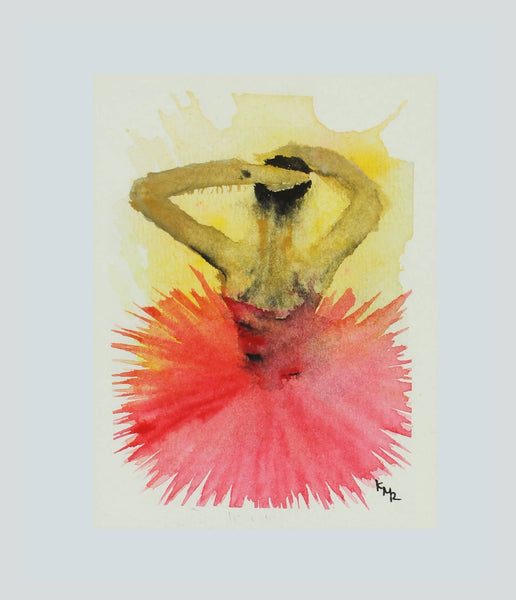 Watercolor painting of female ballet dancer by Kevin Mejías
