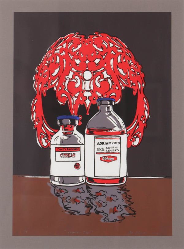 Serigraph print depicting chemotherapy medication as a red devil by Susan Olivera