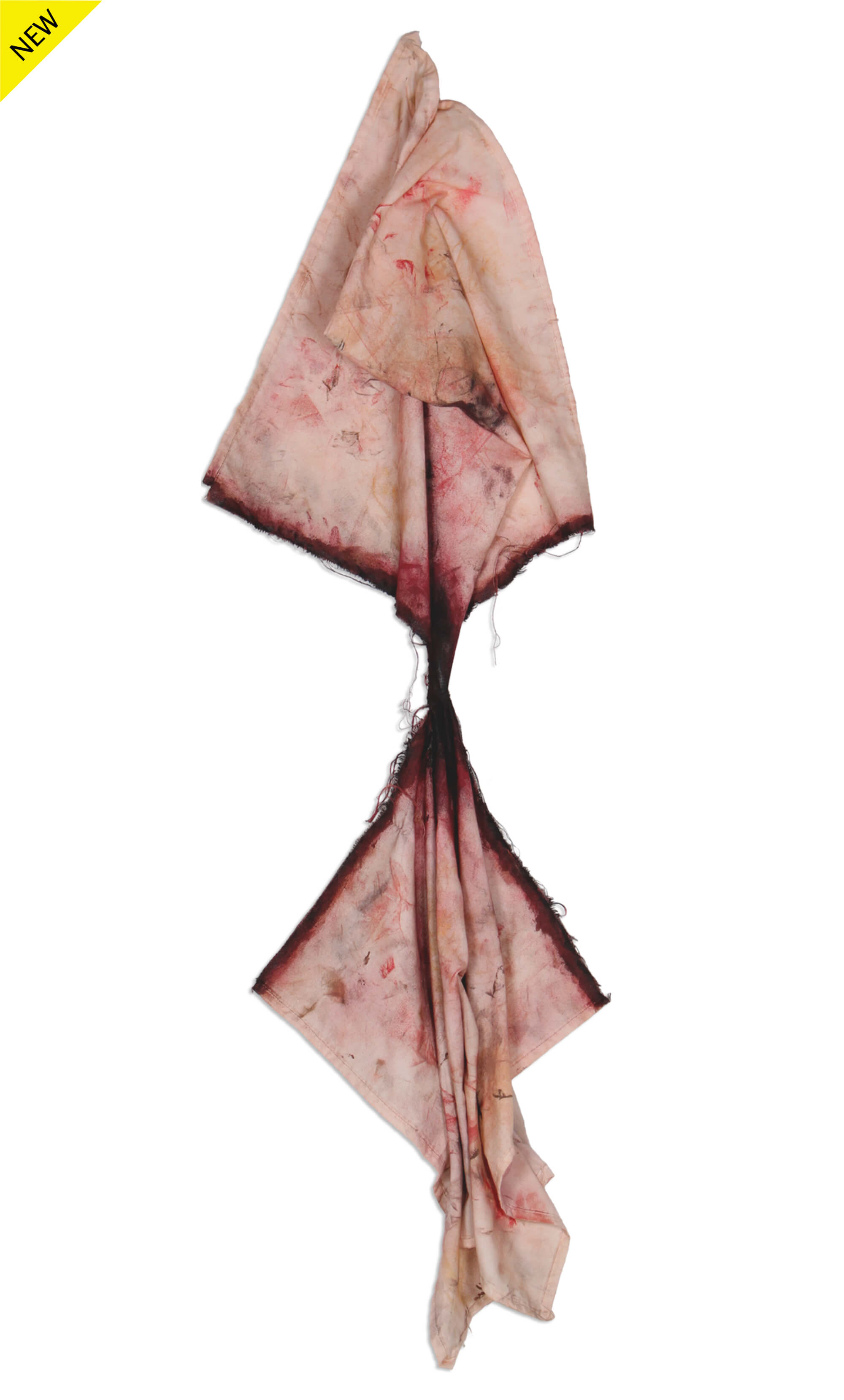 Mixed media of a hanged cloth painted with makeup featuring two squid tail-like shapes connected with a very thing stretchout and dark section in the middle symbolizing detachment by Diana N. Collazo Hernández