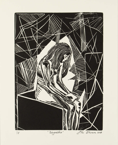 Linocut print of depressive emotional state of women struck by breast cancer diagnosis by Susan Olivera