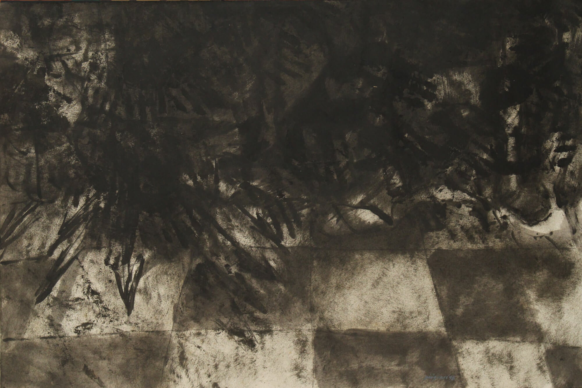 Drawing with carbon and encaustic about spiritual fluids by Diógenes Ballester.