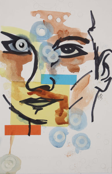 Abstract watercolor painting of multi colored women face by Nichole Ortiz