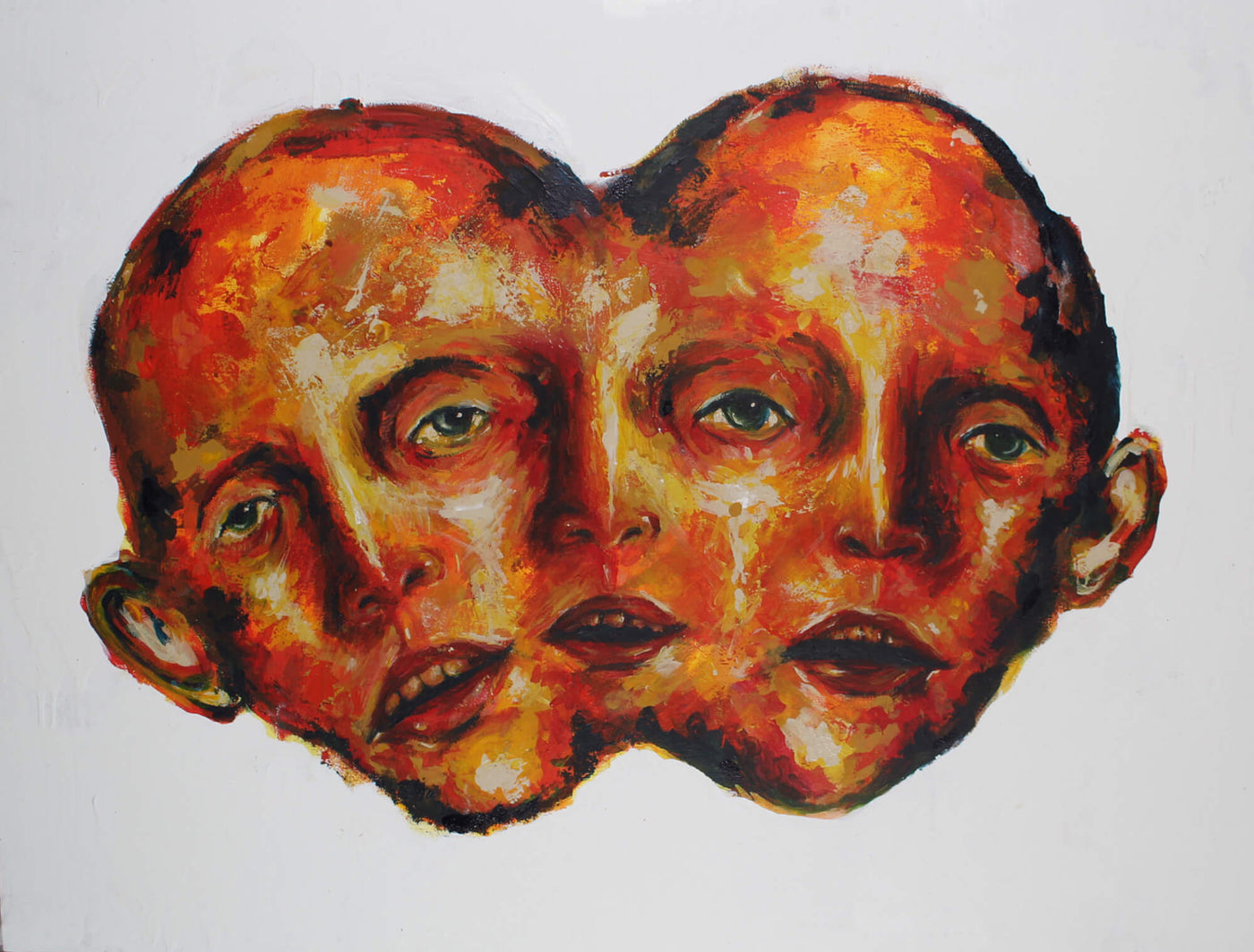 Acrylic abstract painting of red two headed three faces man by Valeria Mercado