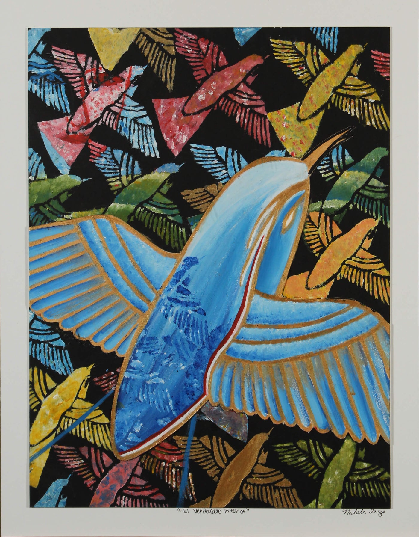 Acrylic additive monotype of birds flying on black sky by Natalia Torres