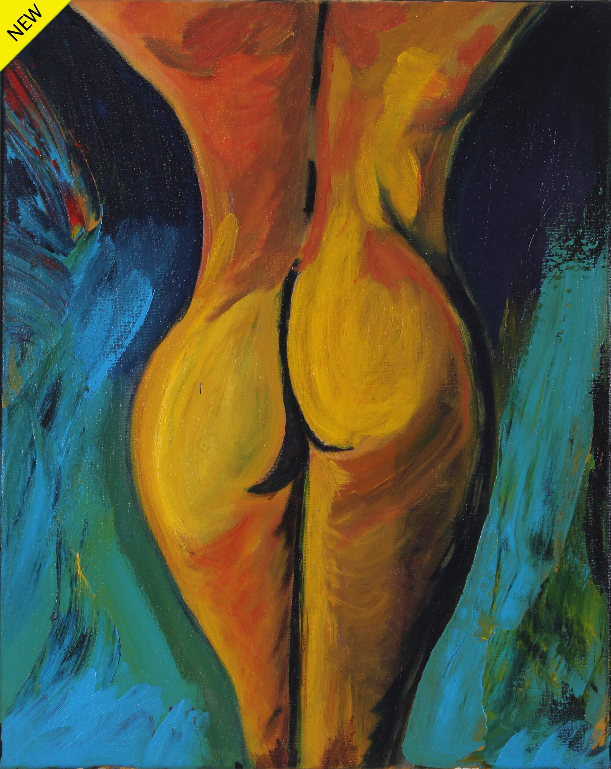 Acrylic painting of the back of the middle body of a naked female on a bluish space by Vicente Ydrach.