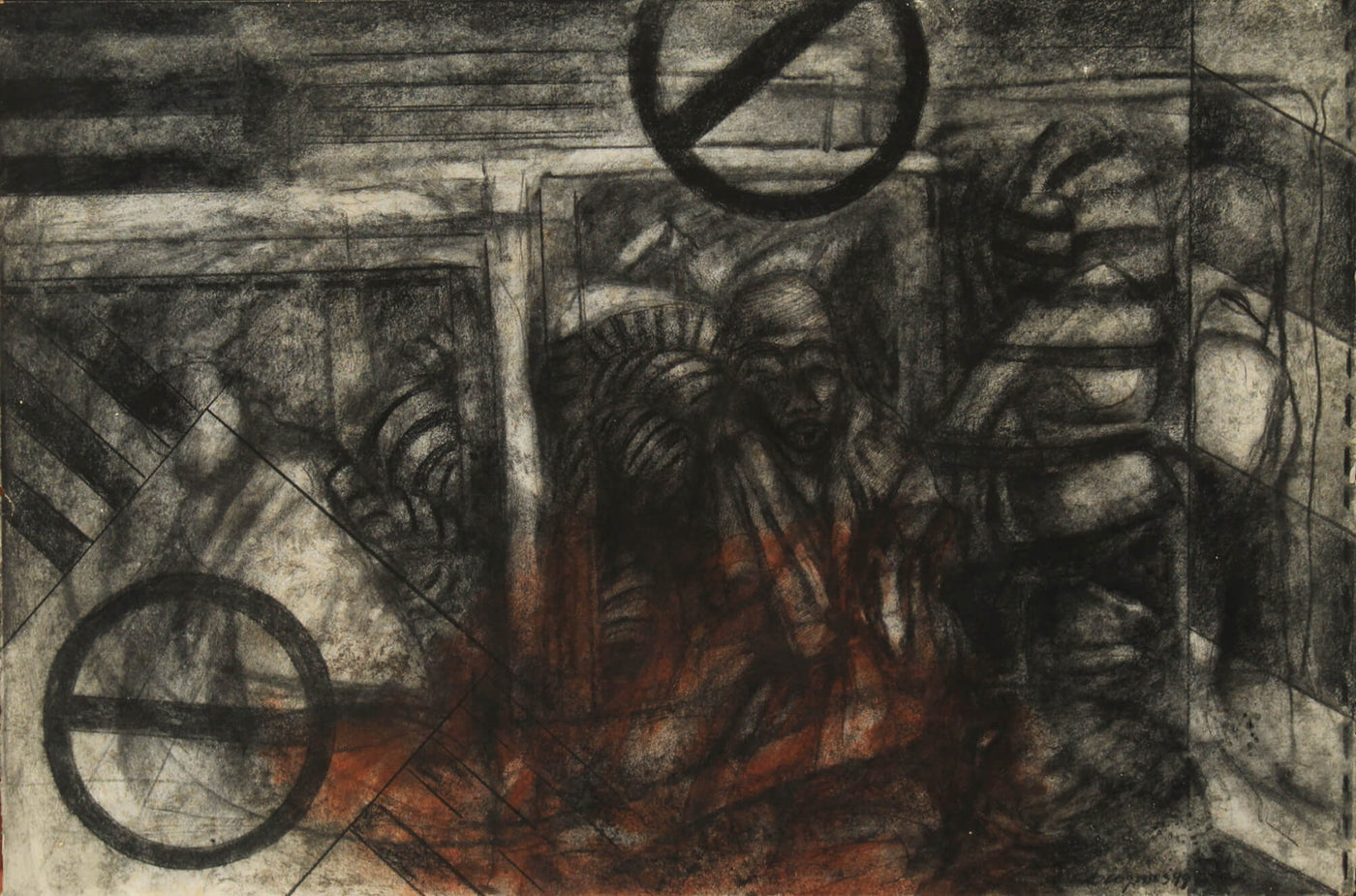 Drawing with carbon and sepia about elements of the metro by Diógenes Ballester.
