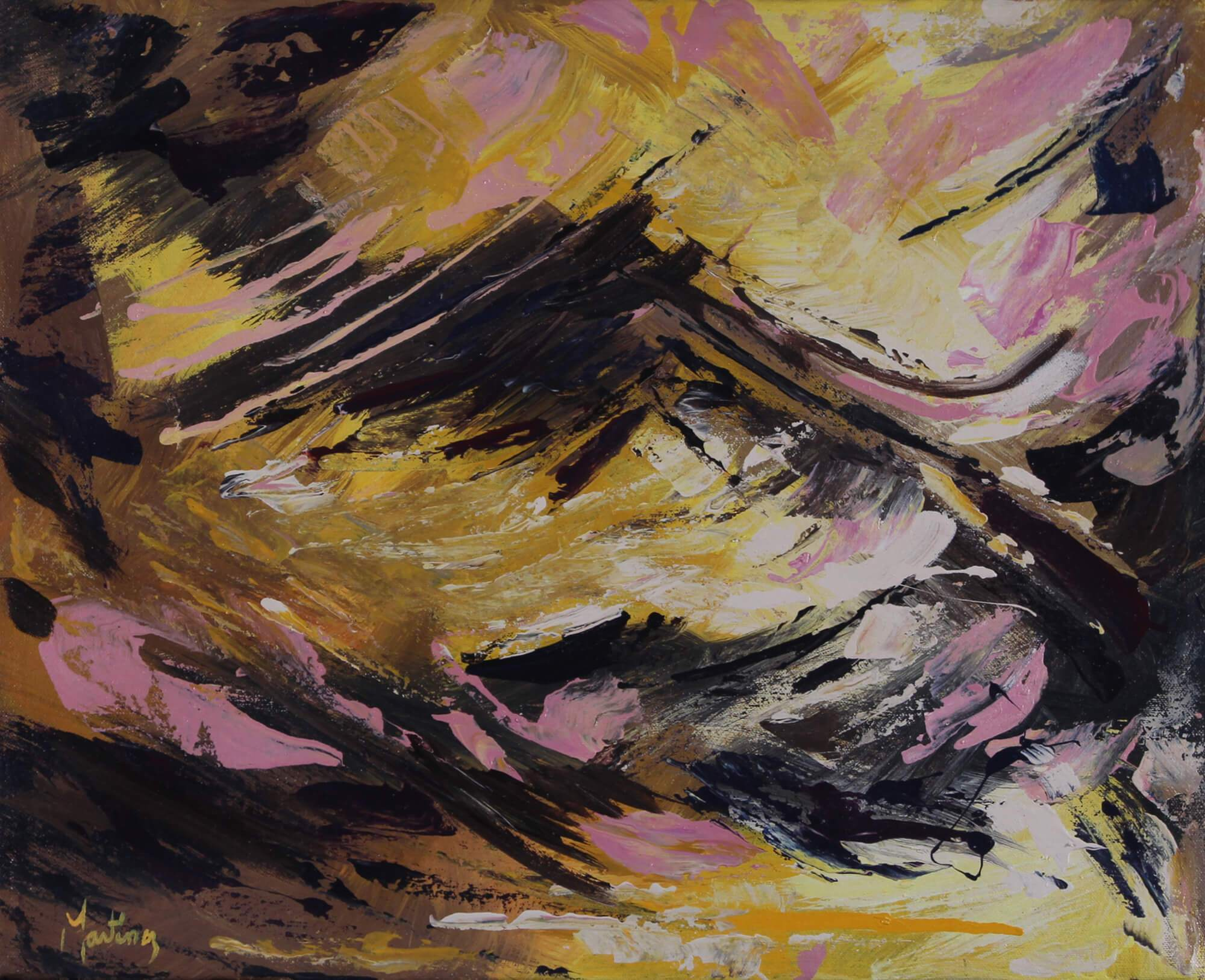 Abstract acrylic painting of a solitary mountain scenery by waves by Joe Martínez.