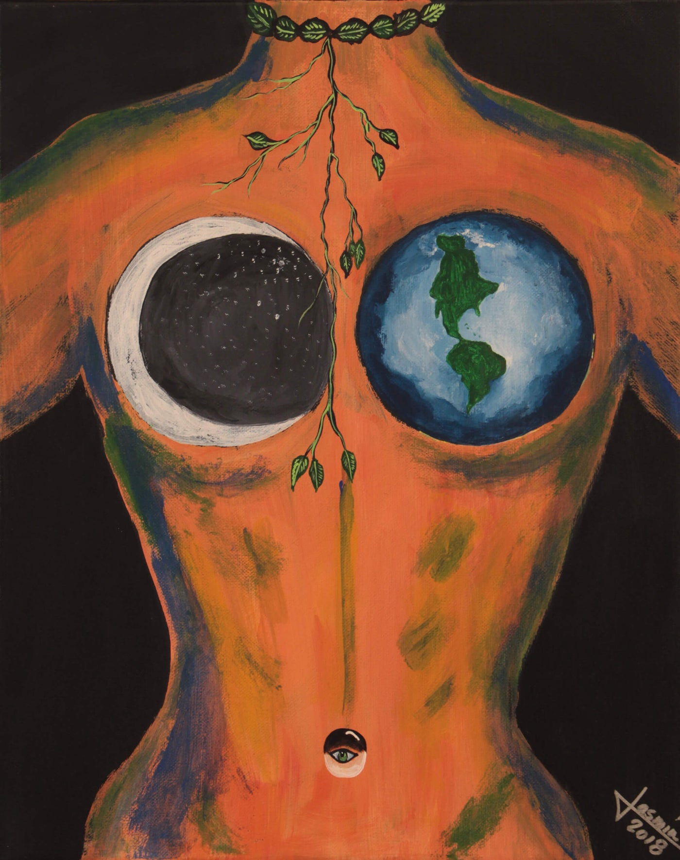 Acrylic painting of female torso with moon and planet Earth as breast by Jasmín Camacho