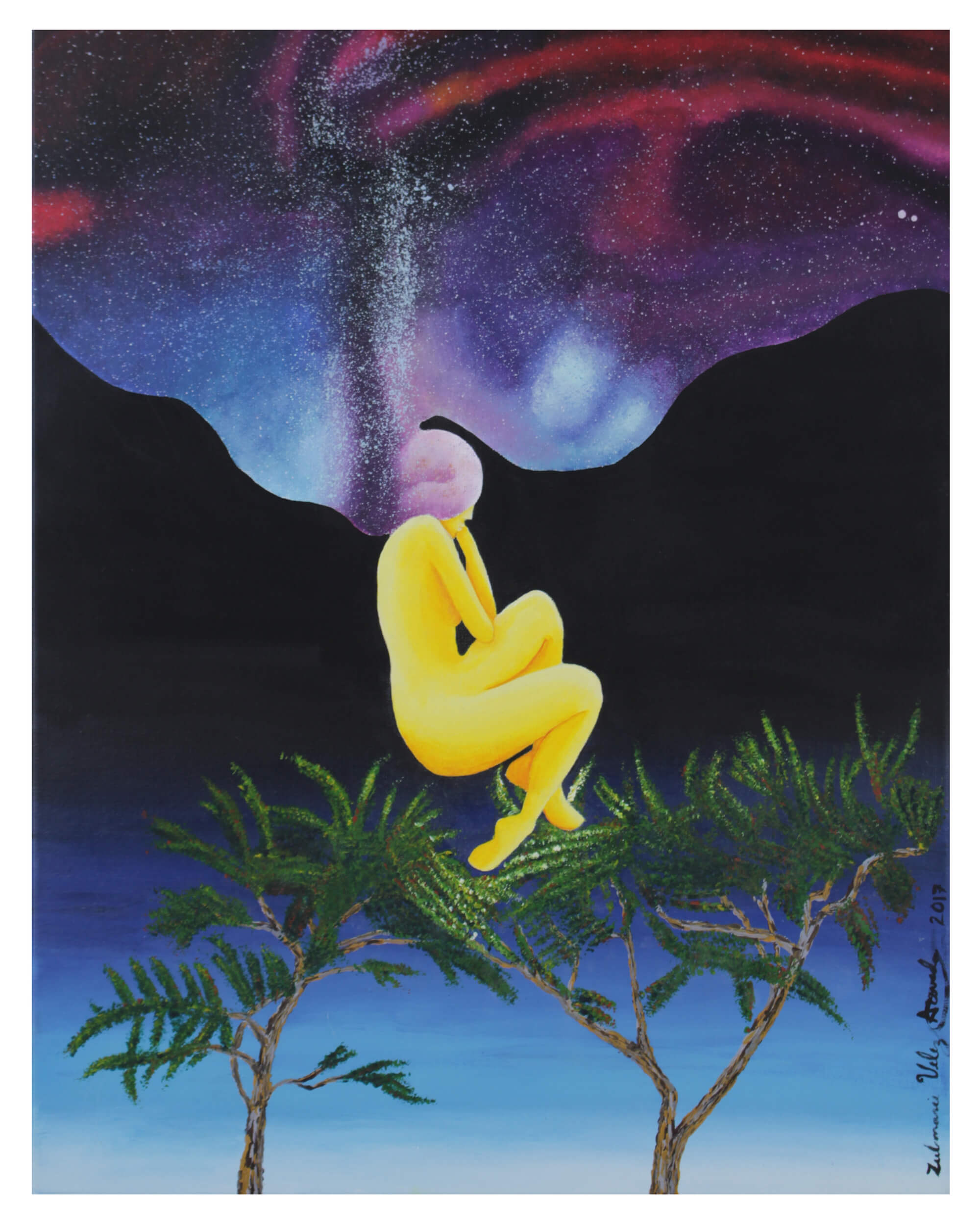Print of a yellow woman levitating in seating position over two trees with aurora borealis on the horizon emerging from dark mountains by Zulmarie Vélez Acevedo