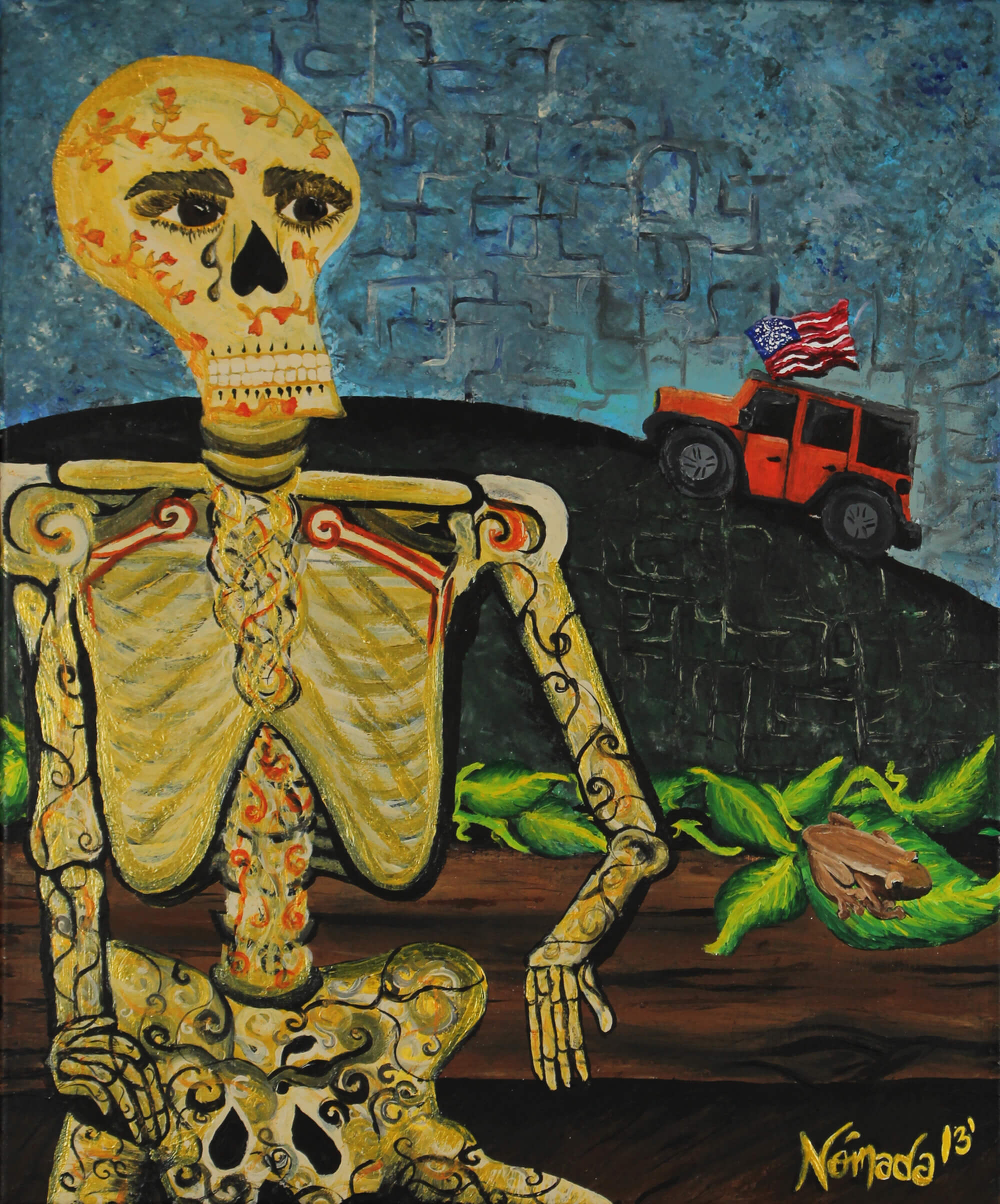 Acrylic painting of live skeleton with a grim scenery on background symbolizing lost hope by Nómada