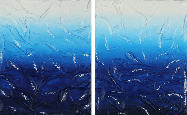 Acrylic painting of foam over blue/white water by Zulmarie Vélez Acevedo