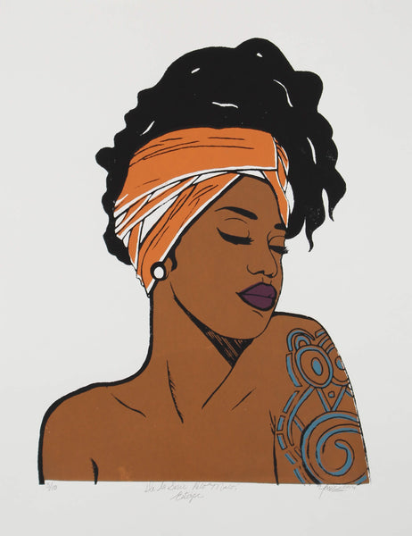 Serigraph of portrait of dark skin woman with orange turban and shoulder tattoo by Yarie Vega