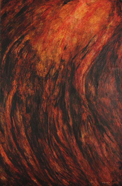 Encaustic painting of abstract representation of the frequency of fire by Diógenes Ballester.
