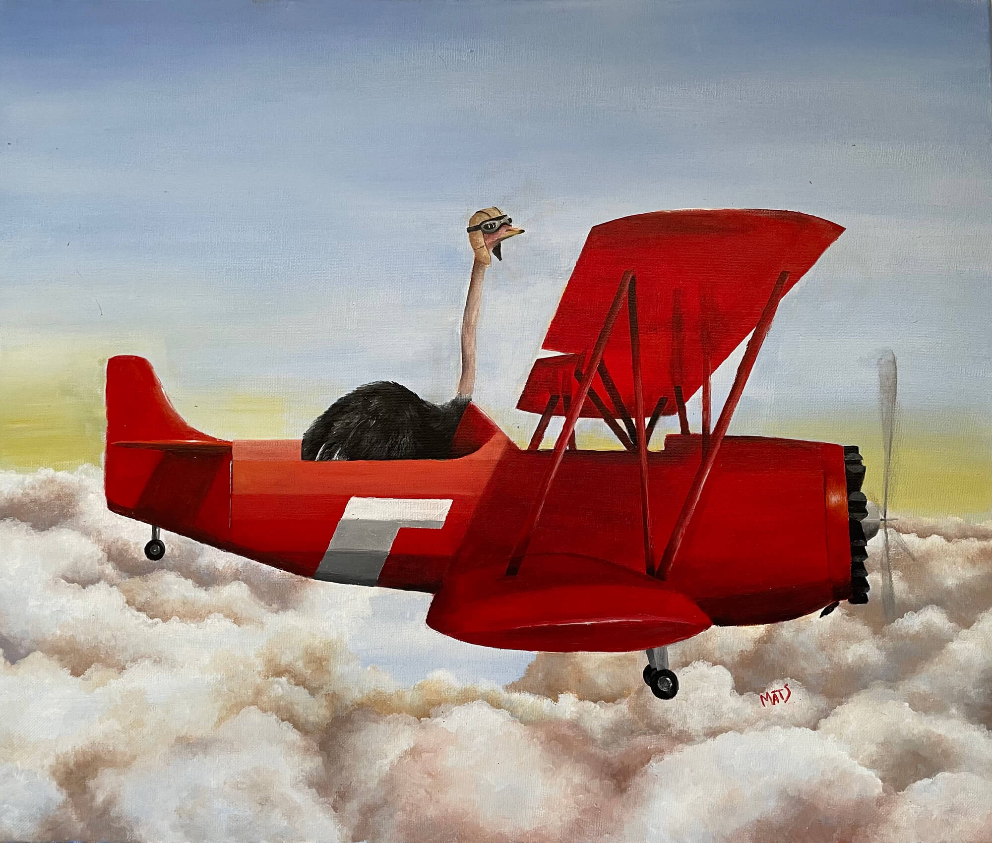 Painting of an ostrich with googles flying a WWII red plane above the clouds by Marisabel A. Torres Sanz