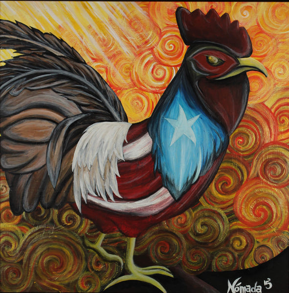 Acrylic painting of colorful roster with Puerto Rican flag painted on the feathers by Nómada
