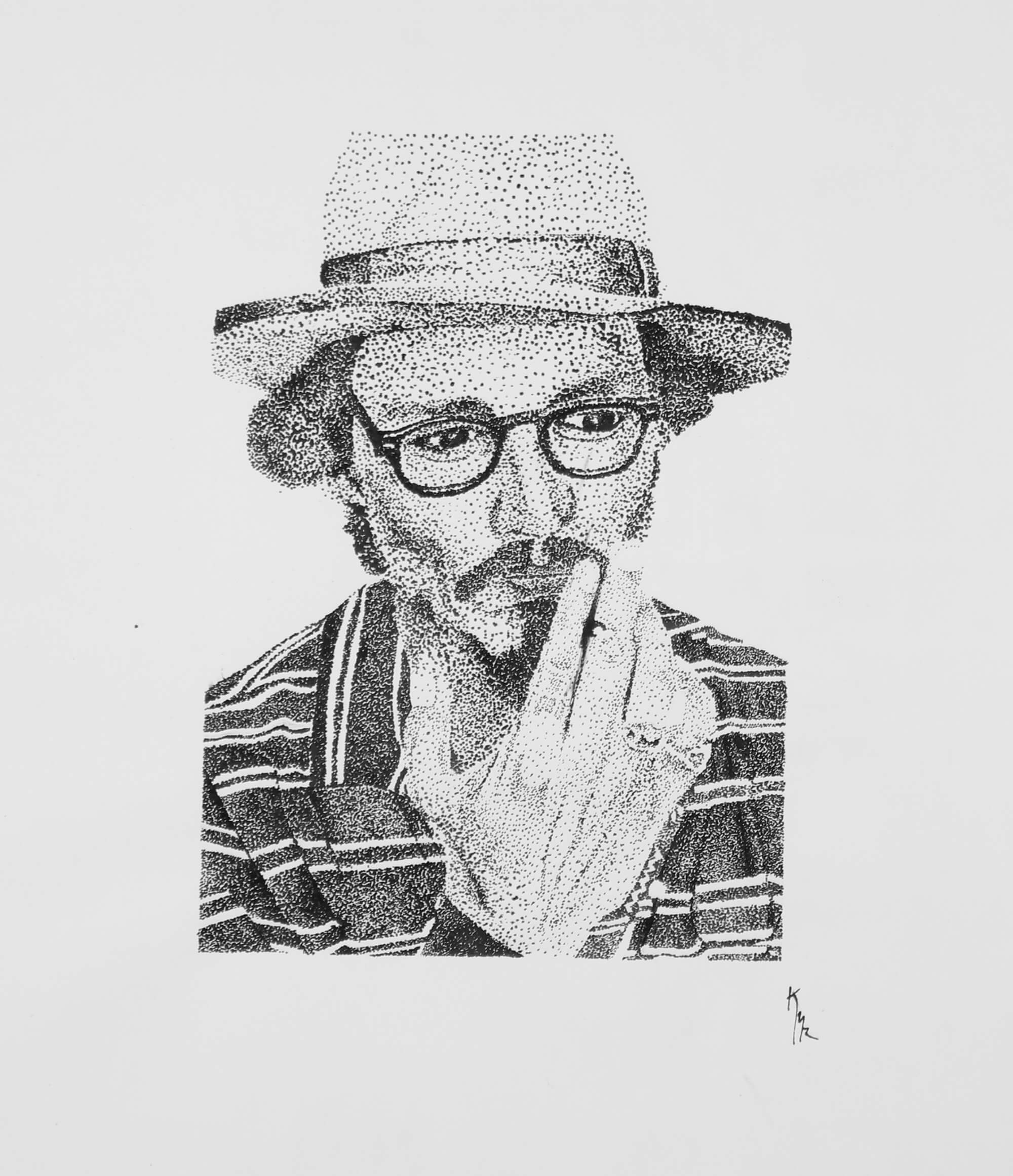 Ink dot drawing of portrait of Johnny Depp by Kevin Mejías
