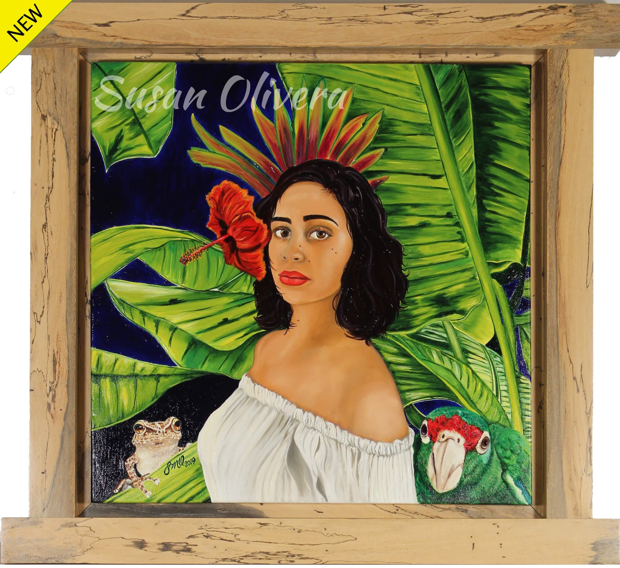 Oil painting of portrait of female in a tropical forest-like scenario with typical vegetation, amphibian (coquí) and bird (parrot) representing a Puertorrican born daughter by Susan Olivera.