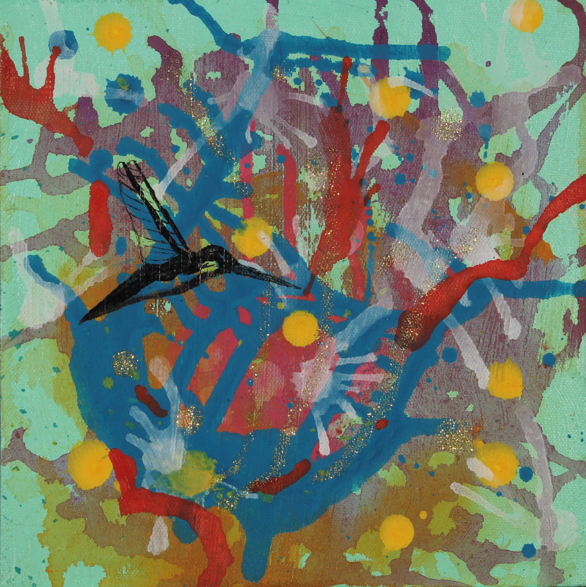 Acrylic painting of semiotic expressionism about humming bird and nectar by Kevo