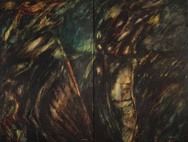 Encaustic painting about the Indian and the lost spirit by Diógenes Ballester.
