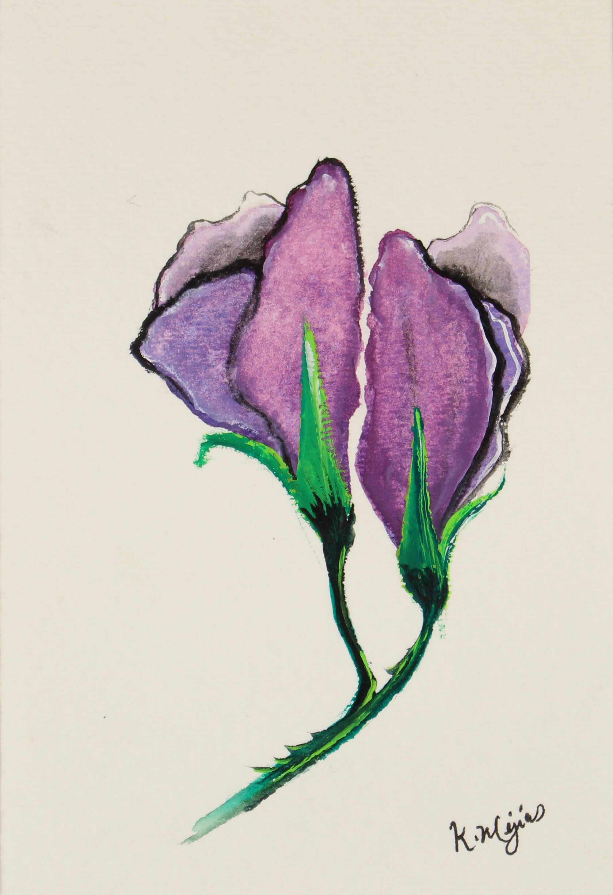 Watercolor painting of purple flower by Kevin Mejías