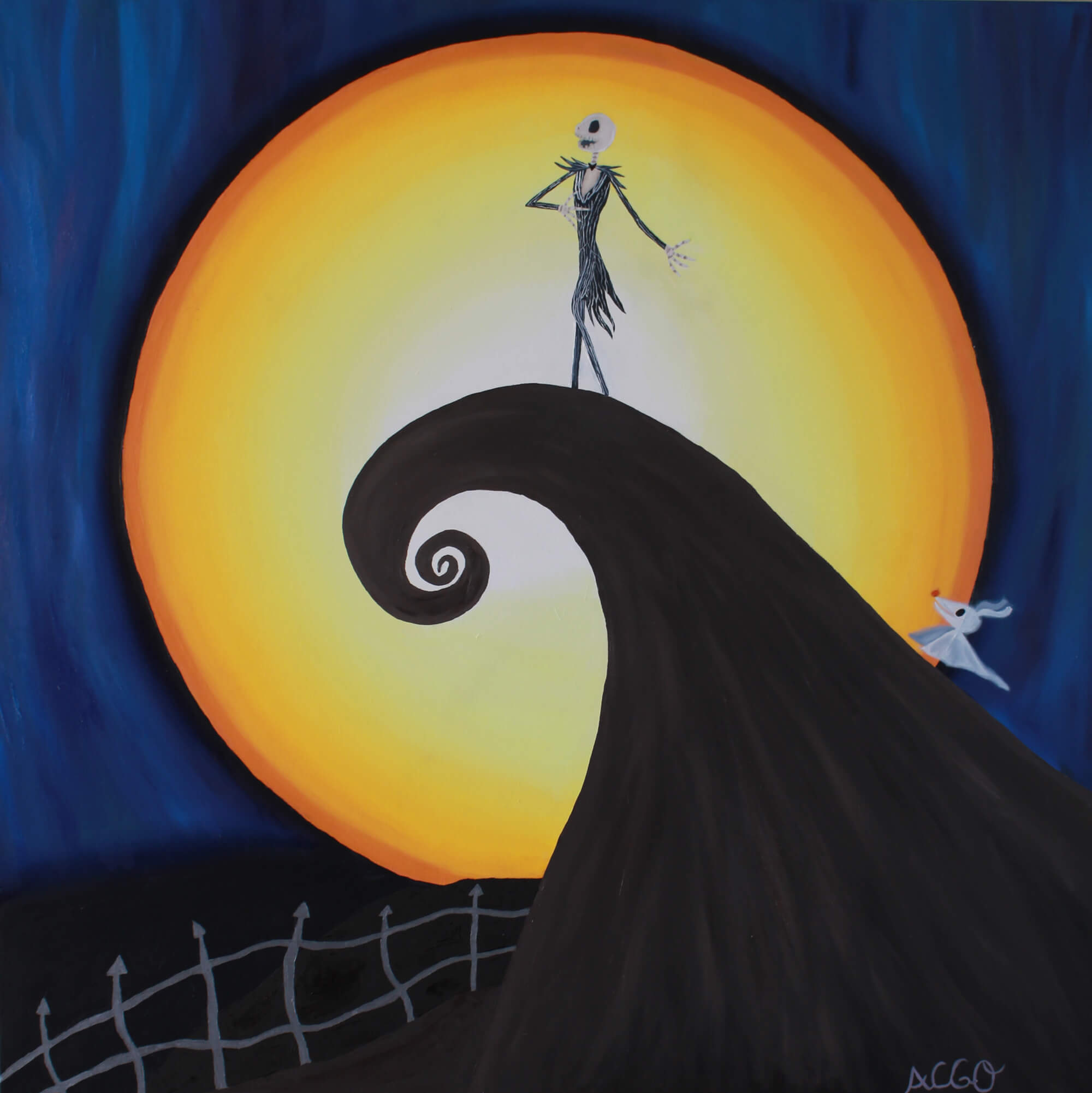 Oil painting of Jack Skellington in front of the moon by a Andrea García