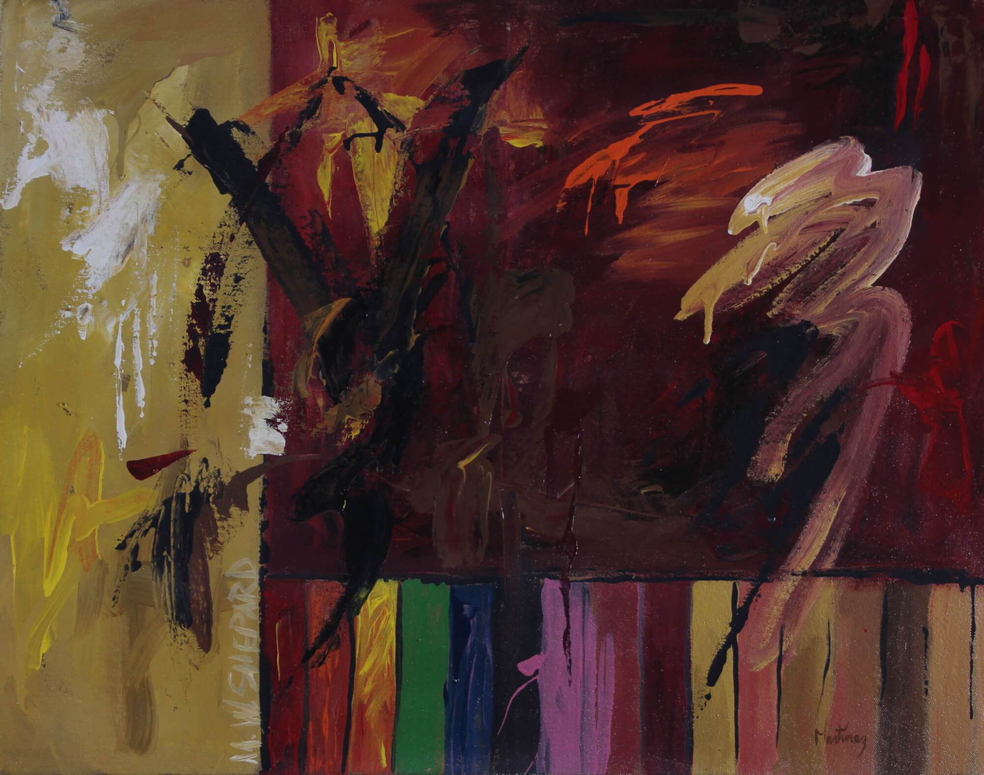 Abstract acrylic painting of a representation of the murder of Mathew W. Shepard in Laramie, Wyoming, in 1998, a critique on homophobia by Joe Martínez.