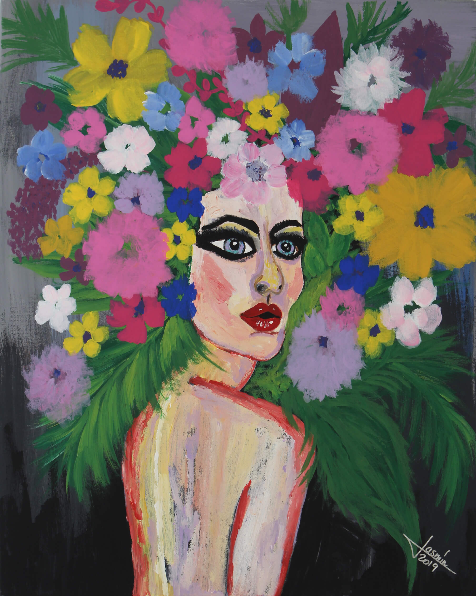 Acrylic painting of a side torso of a nude female with hair made up of multicolor an multi size flowers and branches by Jasmín Camacho