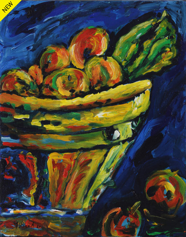 Still life acrylic painting of a basket of colorful unidentifiable fruits on a bluish background by Vicente Ydrach.