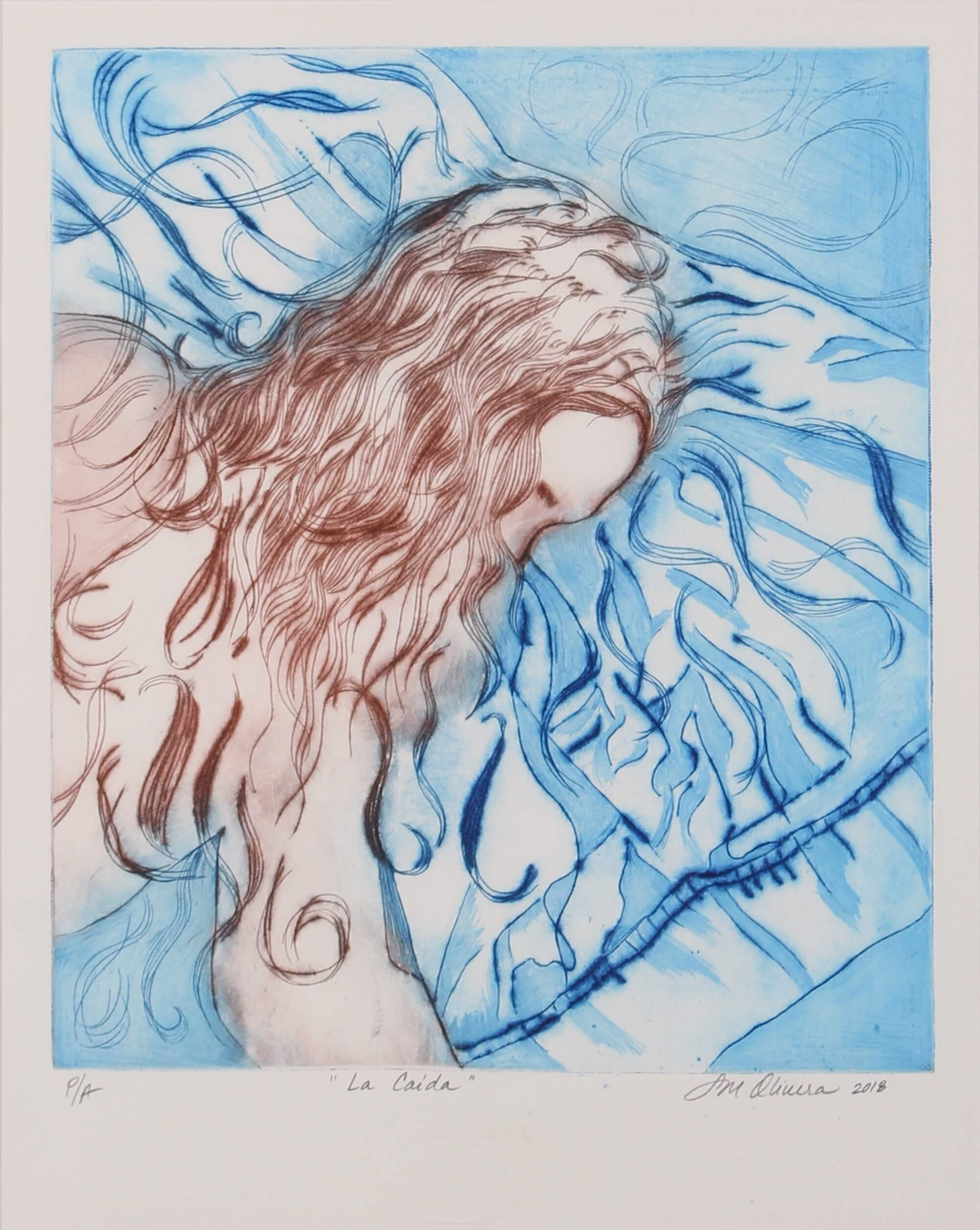 Drypoint print of the fall of women with breast cancer by Susan Olivera