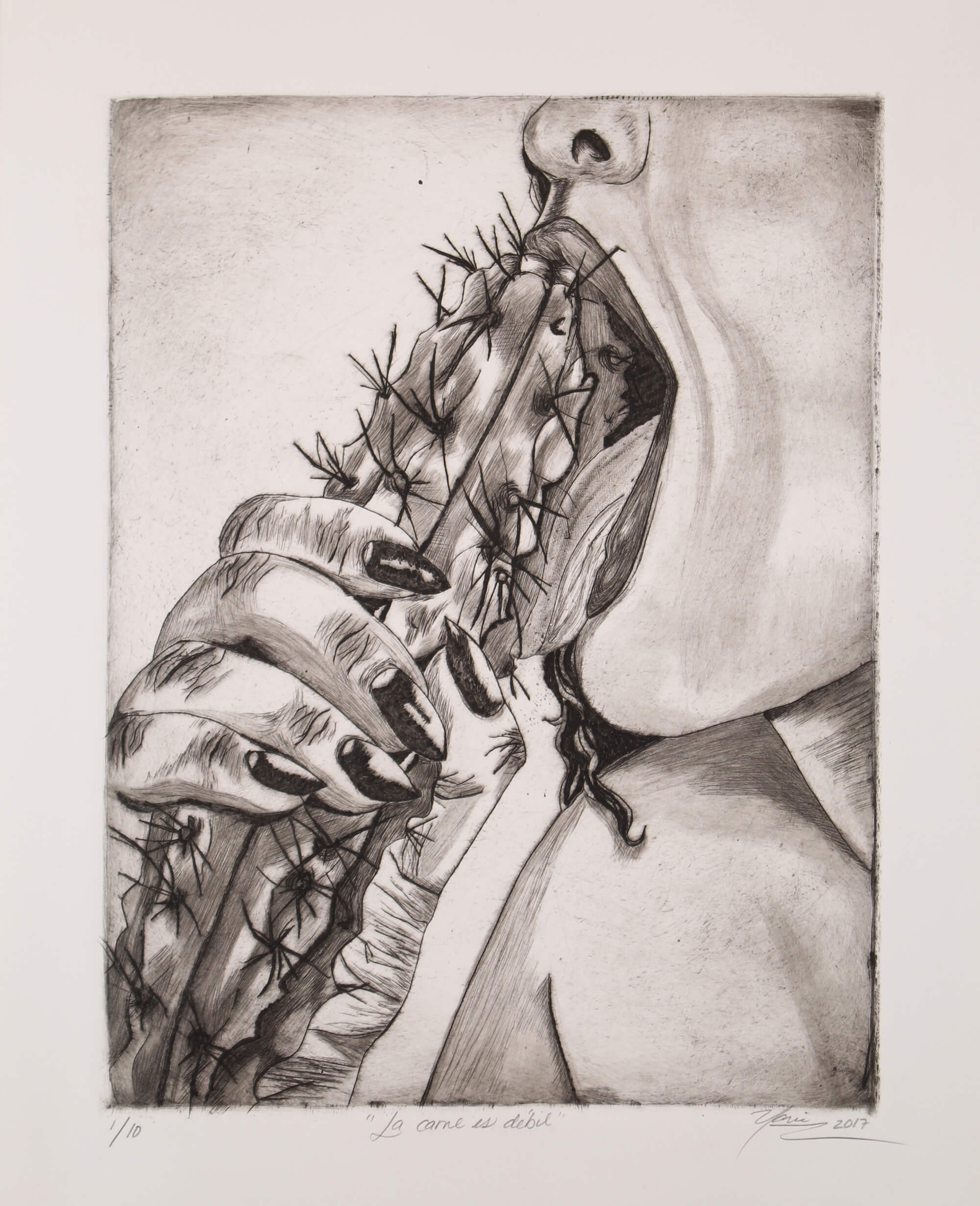 Drypoint print of erotic scene of a woman licking a phallic cactus by Yarie Vega.