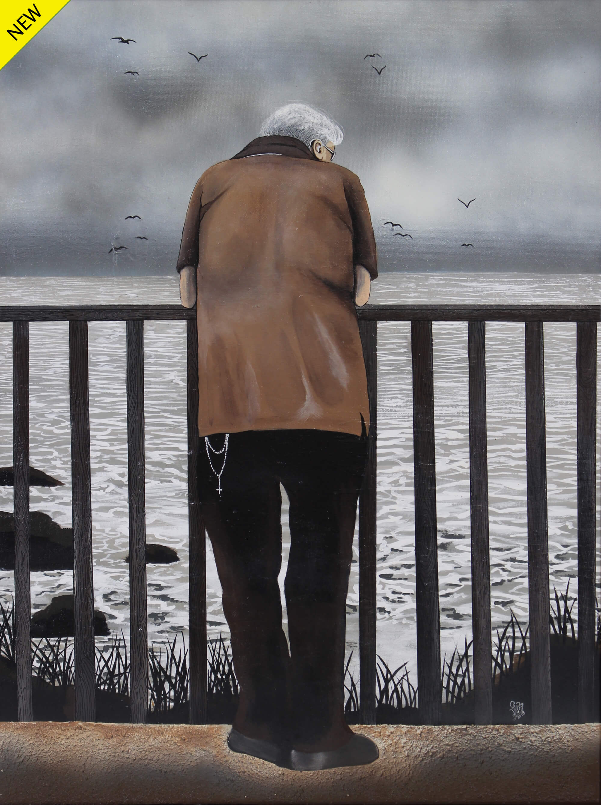 Painting of a back view of a lonely old man with arms resting on a handrail, watching a tempestuous gray sea on a gray cloudy day by Laurencia Victoria.