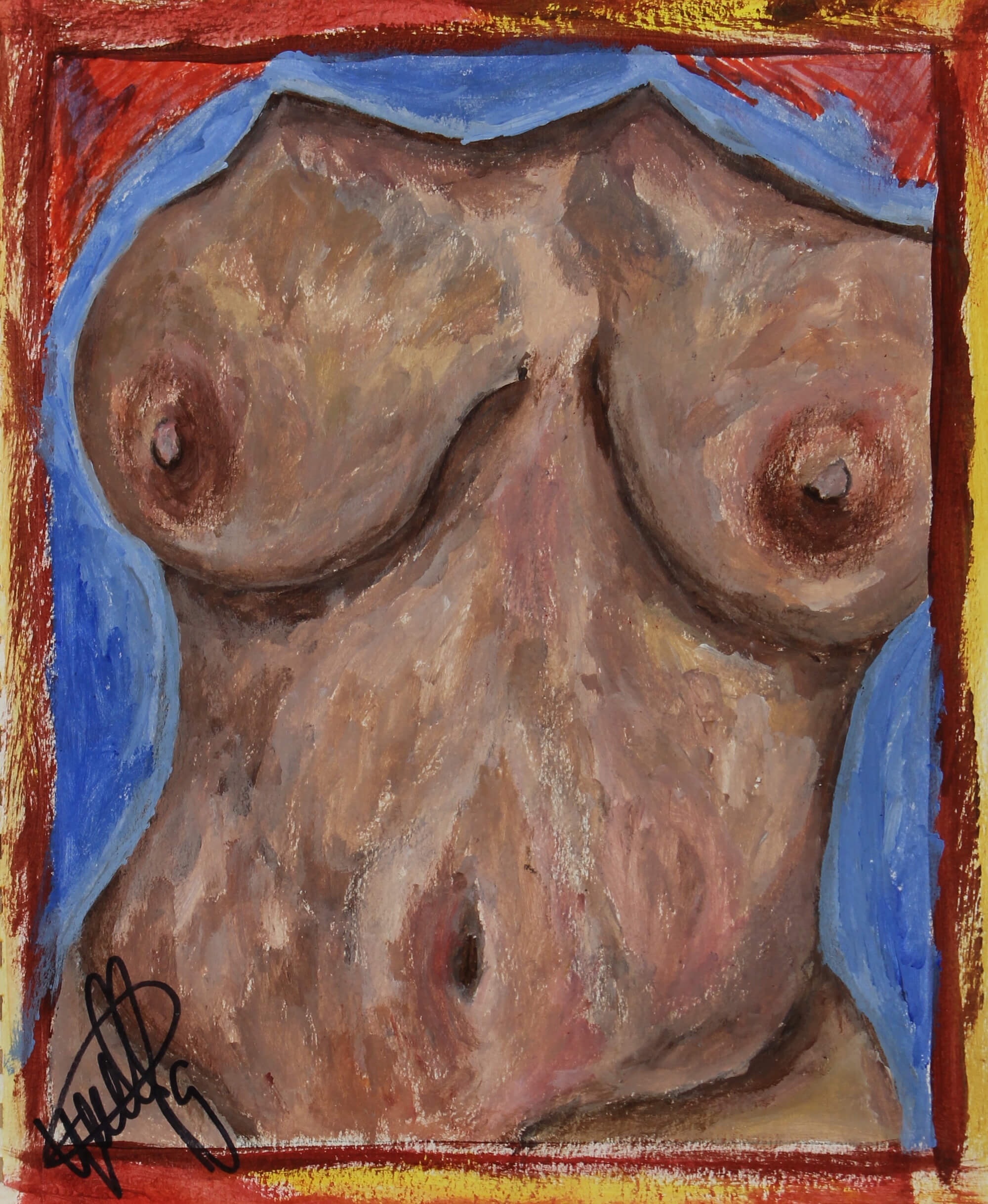 Acrylic painting of the torso of a dark skin, busty female shown through a painted yellow and red frame by Kyhan Yael