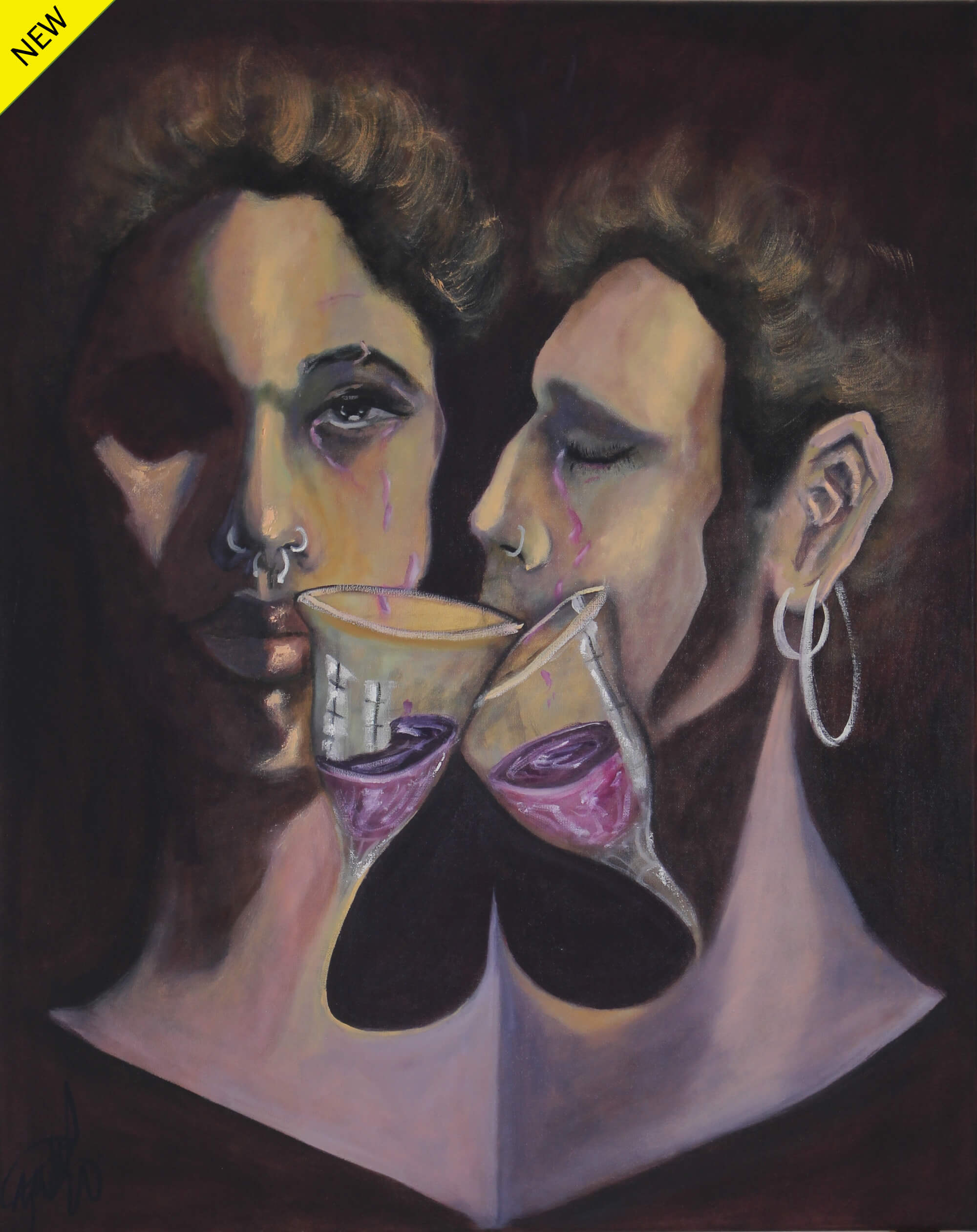 Oil painting of a couple (heads only) on a dark place sharing wine drinks by Kyhan Yael.