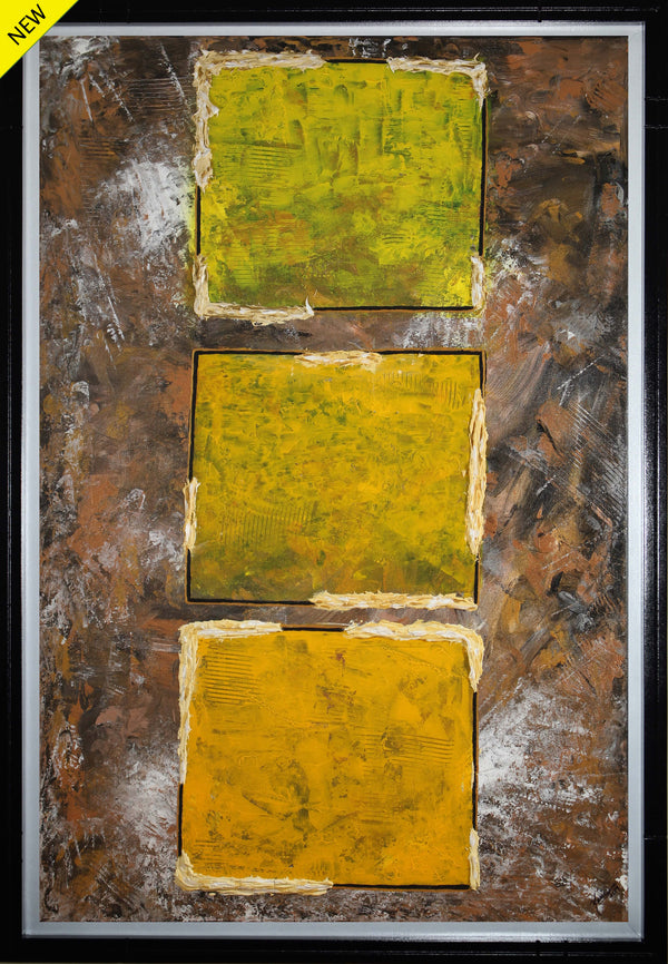 Abstract acrylic painting of three yellow squares superimposed over a brown terrain representing country colors by Yarie Vega