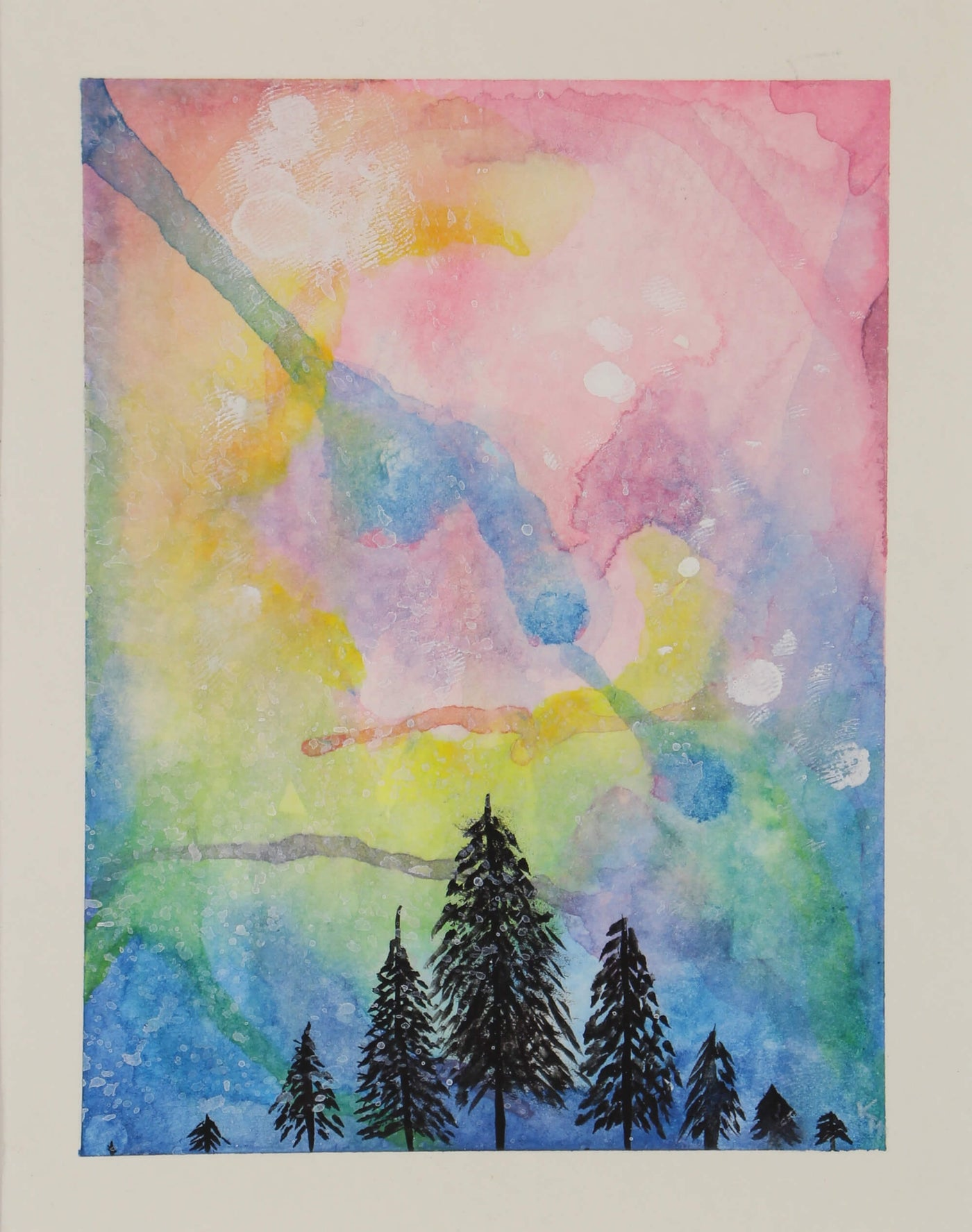 Watercolor painting of sky view from forest mountain top by Kevin Mejías