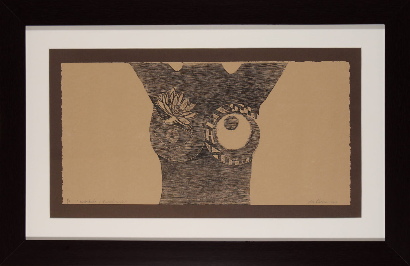 Abstract woodcut print of the torso of a women that experienced a mastectomy and breast reconstruction by Susan Olivera