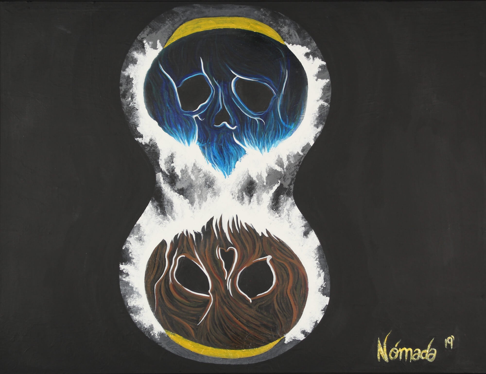 Painting of hourglass made out of skulls depicting doomsday on earth by Nómana