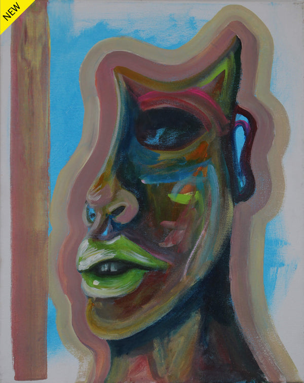 Acrilyc painting of a colorful neck and partial face of a man by Kyhan Yael