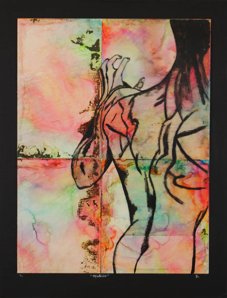 Acrylic and ink painting of back torso of a mystery man by Nichole Ortiz