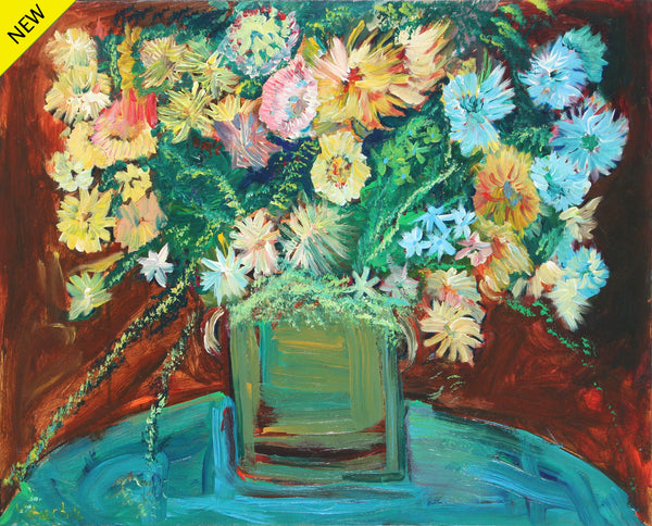 Vicente Ydrach's version of a still life of flowers on a base on top of a round bluish table.