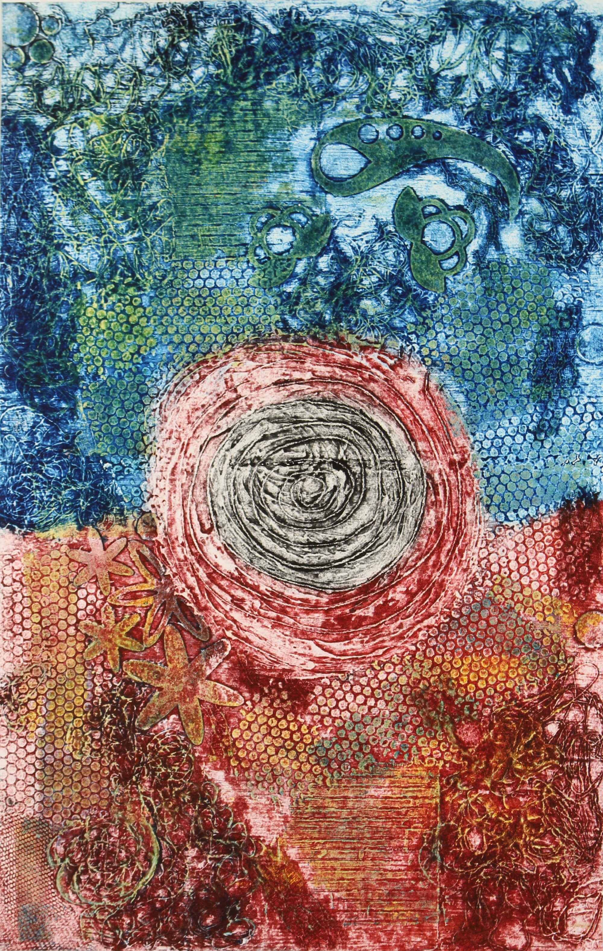 Abstract collagraph print of the  mood swings of a breast cancer patient by Susan Olivera
