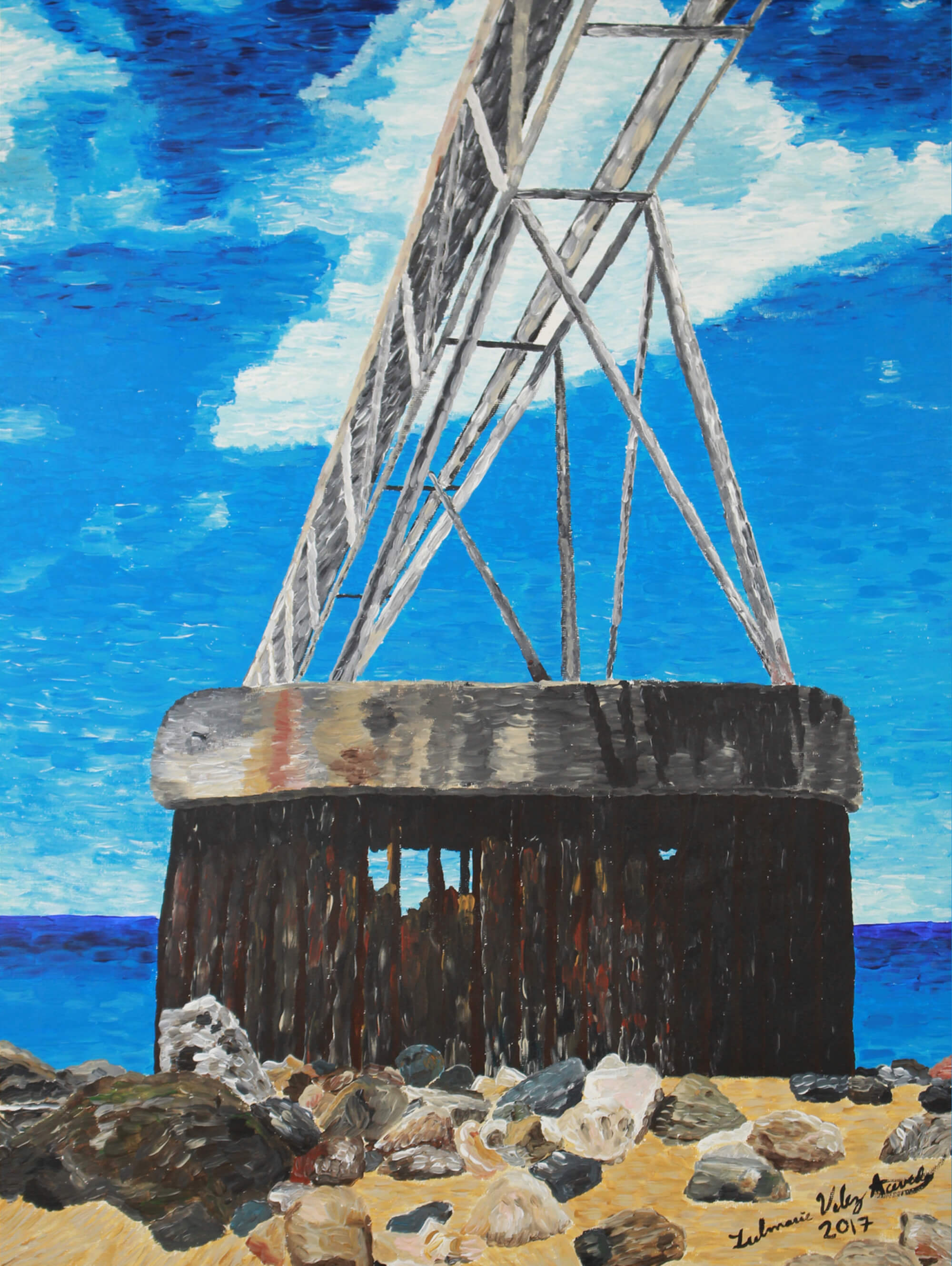 Print of an old dock with blue sea and sky on the background by Zulmarie Vélez Acevedo.