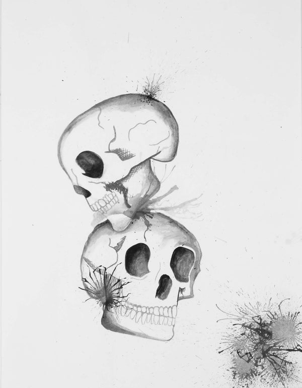 Watercolor painting of two levitating skulls symbolizing death by Nichole Ortiz