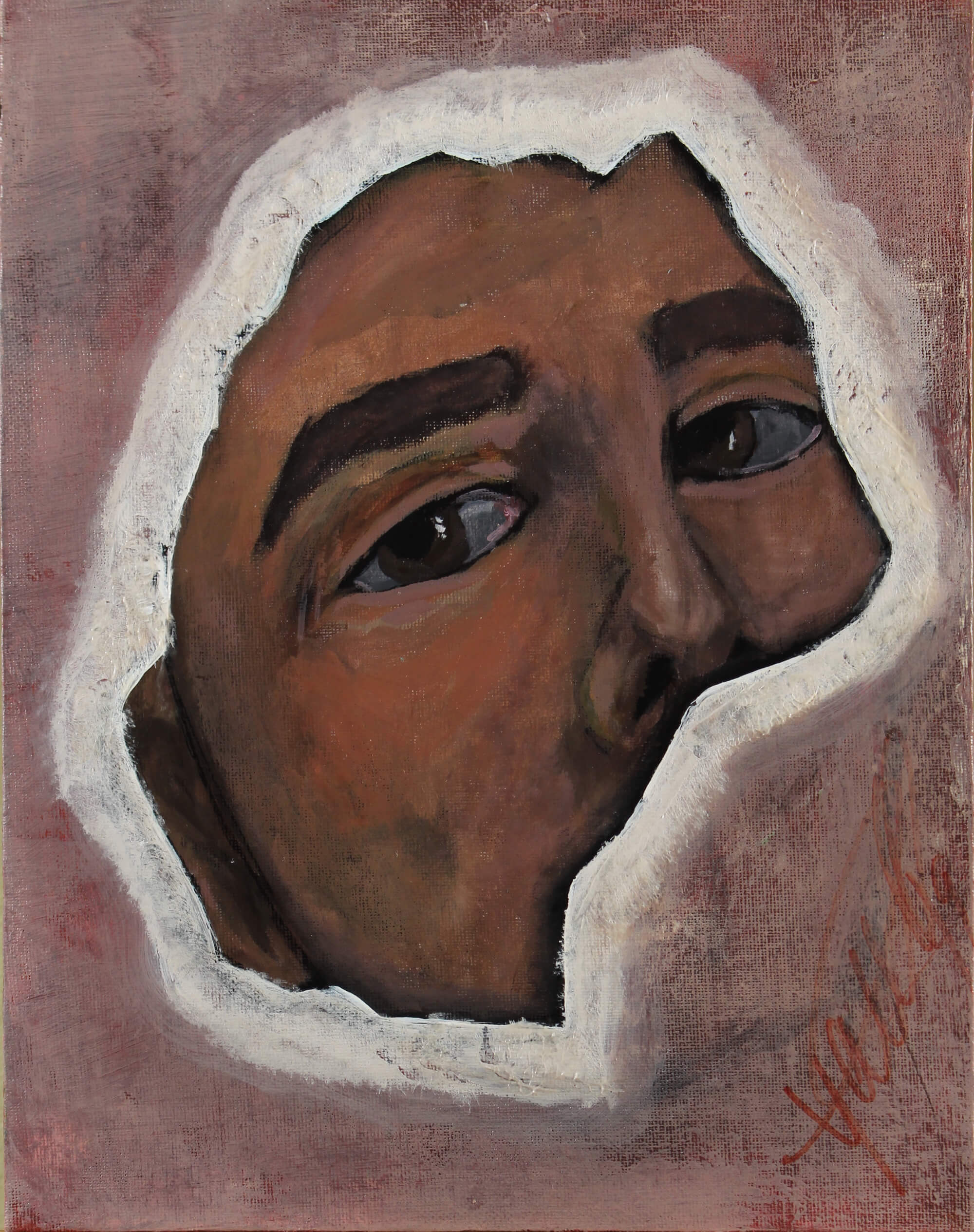 Acrylic painting of a man's face seen through an enclosure that hides his mouth as a symbol of a muted person by Kyhan Yael