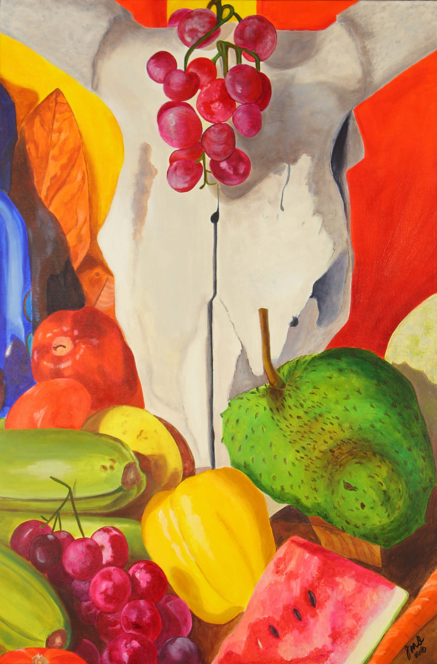 Acrylic painting of still life of fruits and skull by Susan Olivera